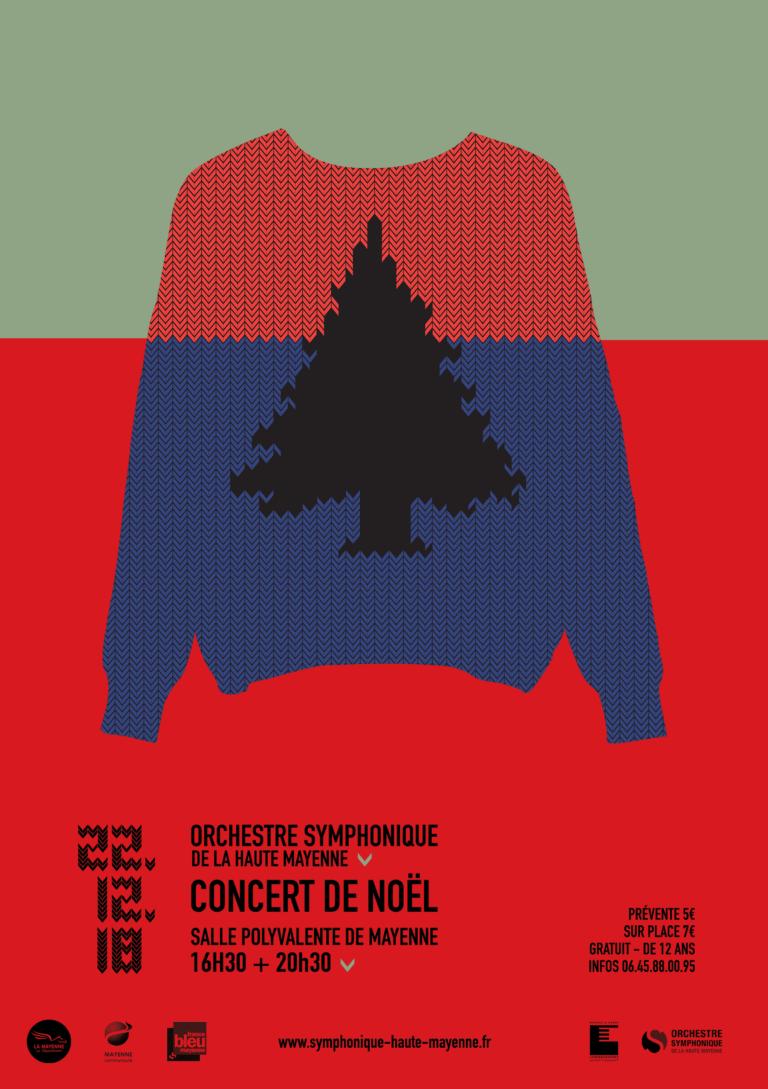 Affiche concert Noël 2018 Orchestre Symphonique de Haute Mayenne - Burosuper