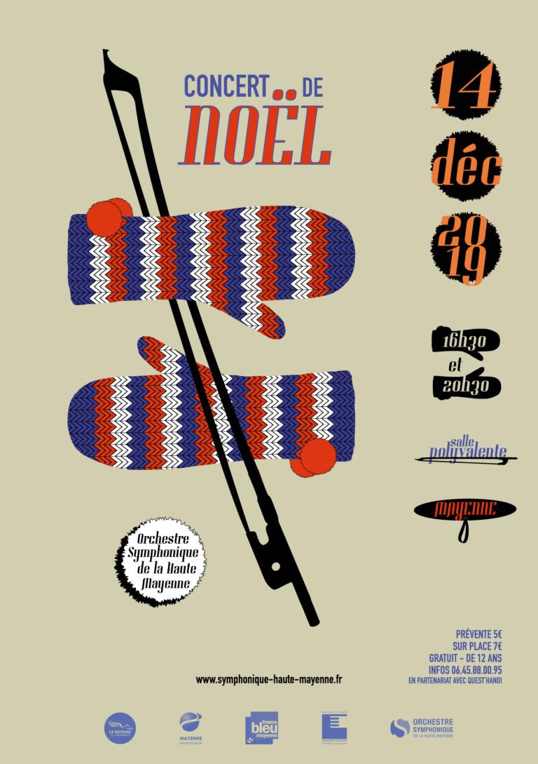 affiche du concert de Noel de l'orchestre symphonique haute mayenne 2019